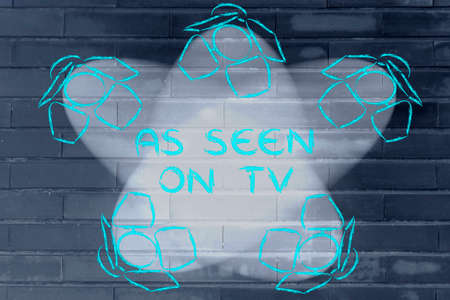 seen: As seen on tv: illustration with marketing concepts in the spotlights Stock Photo