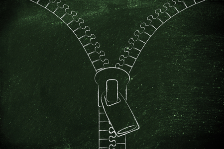 add text: opening zipper illustration whit chalk outline style and copyspace to add text