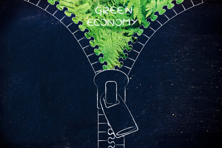 social behaviour: concept of Green Economy: illustration of zip revealing a fern leaves background Stock Photo