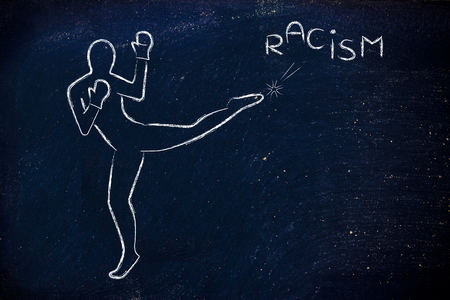 racismo: fight against negative concepts: person kicking away the word racism
