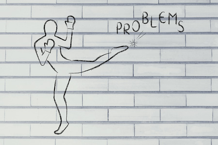 negativity: fight against negativity: person kicking away the word problems Stock Photo