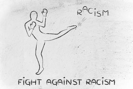 racismo: luchar contra conceptos negativos: persona patear la palabra racismo Foto de archivo