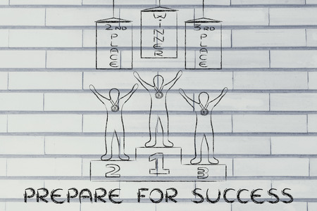 competitive advantage: concept of preparing for success: champions on podium with banners Stock Photo