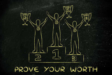 prove: prove your worth: athletes with trophies on podium