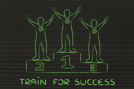 competitive advantage: concept of training for success: champions on podium