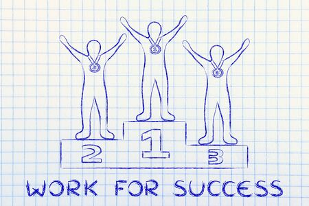 competitive advantage: concept of working for success: champions on podium Stock Photo