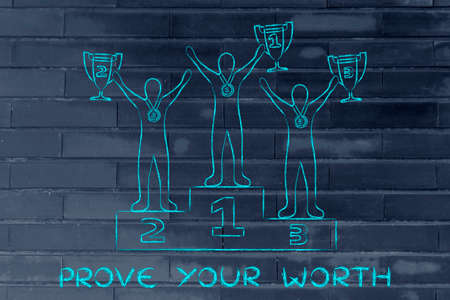 worth: prove your worth: athletes with trophies on podium