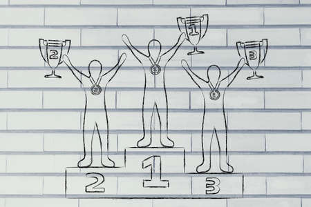 competitive advantage: concept of winning: champions with trophies on podium