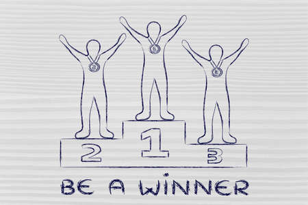 competitive advantage: concept of being a winner: champions on podium