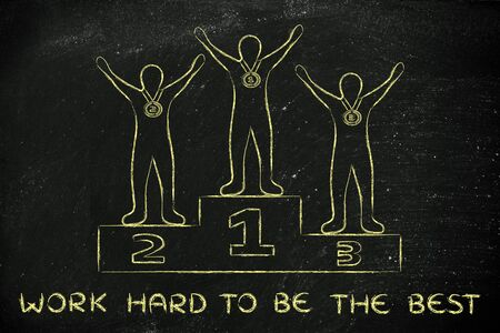 working hard: concept of working hard to be the best: champions on podium
