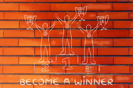 become: become a winner: athletes with trophies on podium Stock Photo