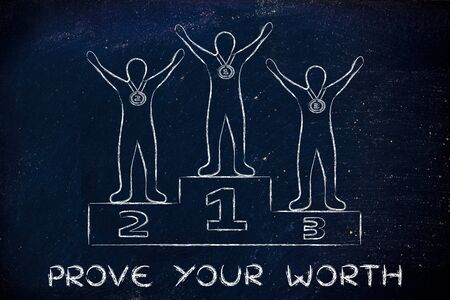 competitive advantage: concept of proving your worth: champions on podium