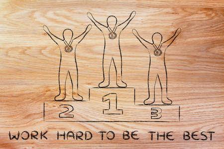trabajando duro: concepto de trabajar duro para ser el mejor: campeones en el podium Foto de archivo