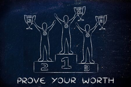athletes: prove your worth: athletes with trophies on podium