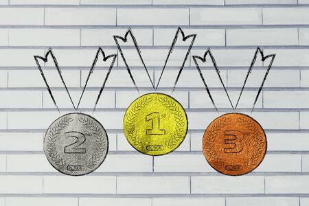 competitive advantage: gold, silver and bronze medals, concept of competition and winning