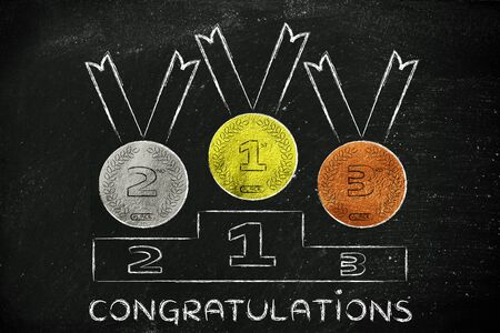 competitors: working for success: gold, silver and bronze medals on podiumwith text congratulations Stock Photo