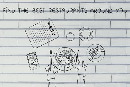 healthy meal: find the best restaruants around you: table with menu and healthy meal Stock Photo