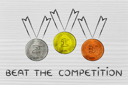 beating: gold, silver and bronze medals on podium, concept of beating the competition