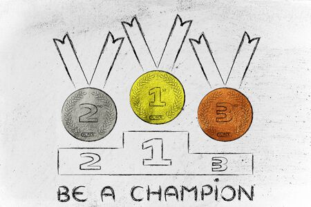 competitors: gold, silver and bronze medals on podium, concept of being a champion Stock Photo