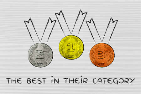 announcing: gold, silver and bronze medals on podium, concept of announcing the best for each category