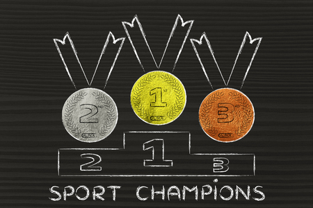 competitive advantage: gold, silver and bronze medals on podium, concept of being a sport champion