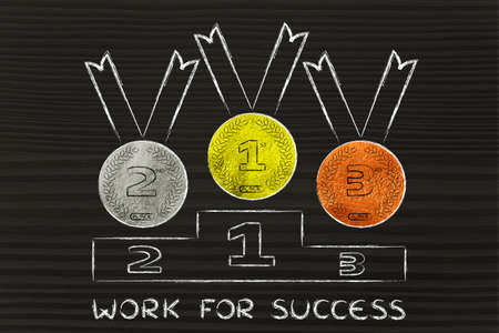 competitors: gold, silver and bronze medals on podium, concept of working for success