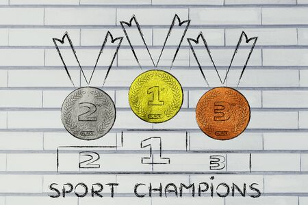 competitors: gold, silver and bronze medals on podium, concept of being a sport champion