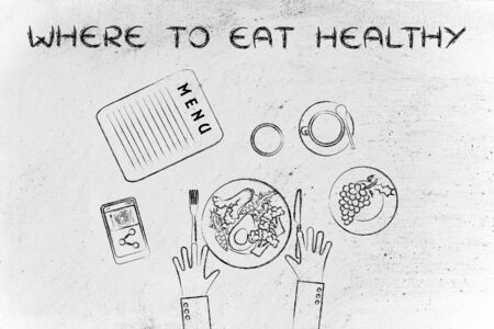 healthy meal: the best restaurants in town: table with menu and healthy meal