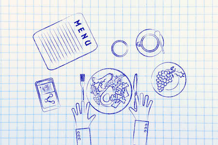 restaurant table: eating healthy: illustration of restaurant table with menu and vegetarian meal