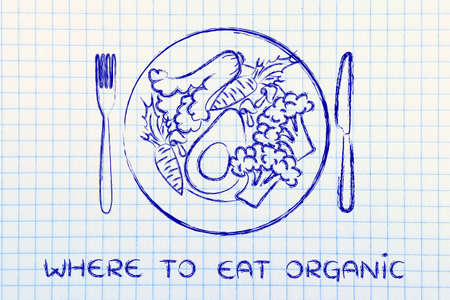 where to eat organic: illustration with healthy plate of vegetables