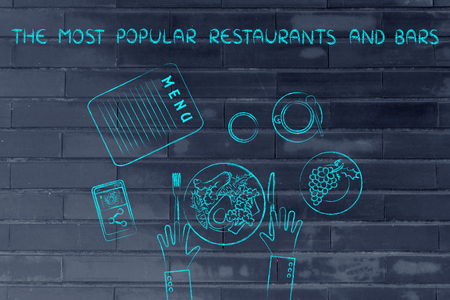healthy meal: the most popular restaurants and bars: table with menu and healthy meal Stock Photo