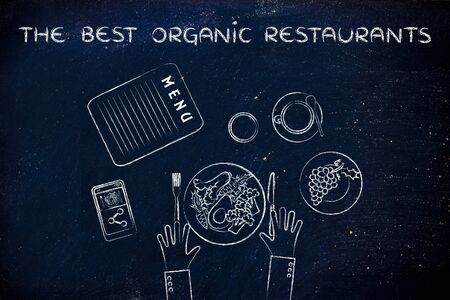 healthy meal: the best organic restaurants: table with menu and healthy meal