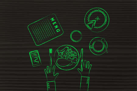 restaurant table: restaurant table with customers hands, meal, pie, phone and coffee (flat illustration)