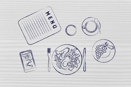 restaurant table: restaurant table with menu, vegetarian meal, pie, phone and coffee (flat illustration)