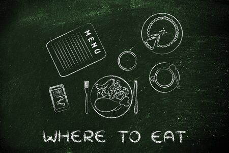where to eat: table with menu, meal, pie, phone and coffee (flat illustration)