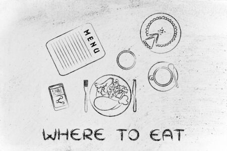 where to eat: where to eat: table with menu, meal, pie, phone and coffee (flat illustration)