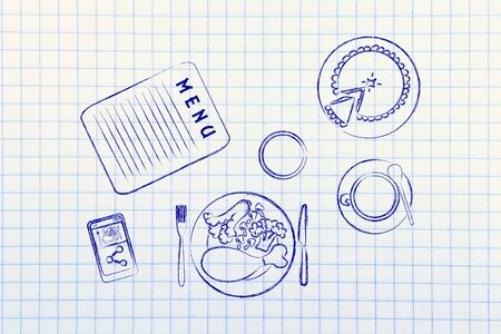 restaurant table: restaurant table with menu, meal, pie, phone and coffee