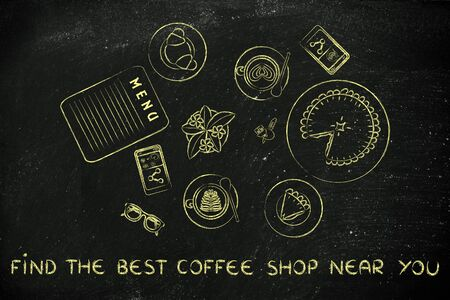 best coffee: find the best coffee near you: table with latte art cups, bakery and pie (flat illustration)