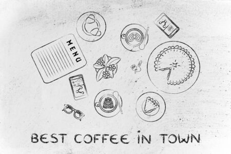 best coffee: best coffee in town: table with latte art cups, bakery and pie (flat illustration)
