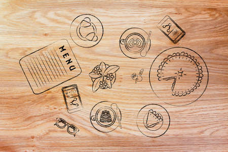 bar table: coffee shop or bar table with latte art cups, bakery and pie (flat illustration) Stock Photo