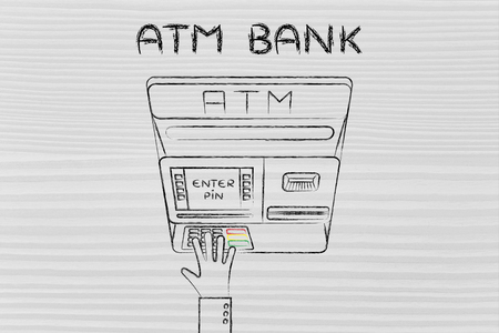 pin code: hand typing pin code on automatic teller machine, concept of money and banks