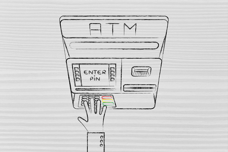 pin code: hand typing pin code on automatic teller machine, concept of money and expenses Stock Photo