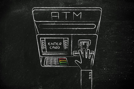 automatic teller machine bank: hand inserting credit card into atm slot (flat illustration), concept of money and expenses