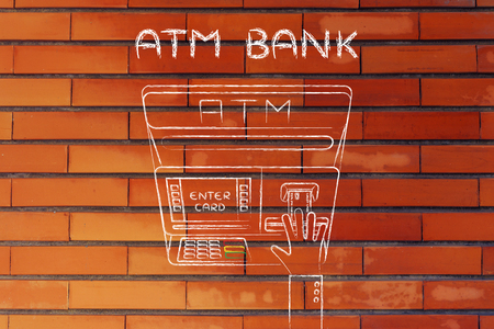 teller: hand inserting credit card into automatic teller machine (flat illustration), concept of money and ATM banks