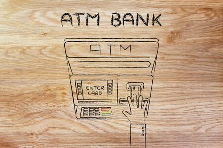 automatic teller machine: hand inserting credit card into automatic teller machine (flat illustration), concept of money and ATM banks