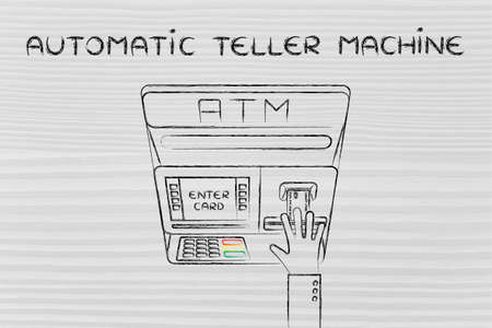 automatic teller machine bank: hand inserting credit card into atm slot (flat illustration), concept of money and automatic teller machines