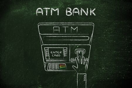 automatic: hand inserting credit card into automatic teller machine (flat illustration), concept of money and ATM banks