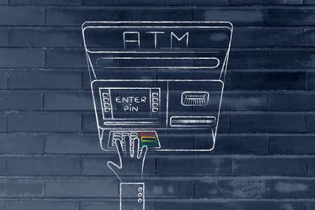 automatic teller machine: hand typing pin code on automatic teller machine, concept of money and expenses Stock Photo