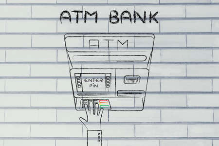 typing machine: hand typing pin code on automatic teller machine, concept of money and banks
