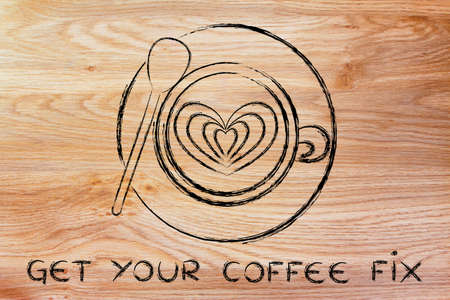 latte: get your coffee fix: cup with heart-shaped latte art design